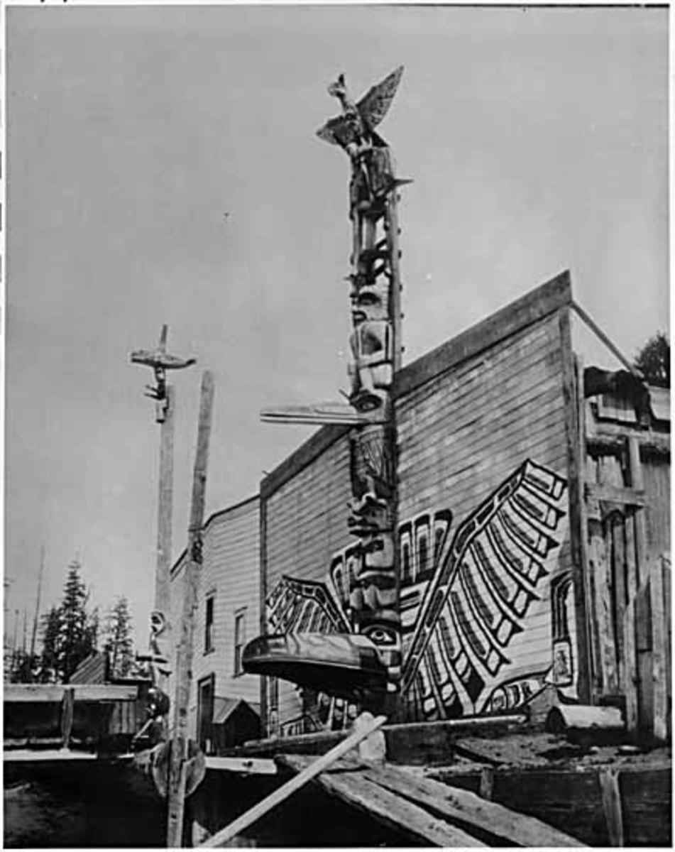 No longer standing, this is Chief Charlie James's house, where Ellen Neel lived and learned cedar pole and mask carving. The street no longer contains such native homes.