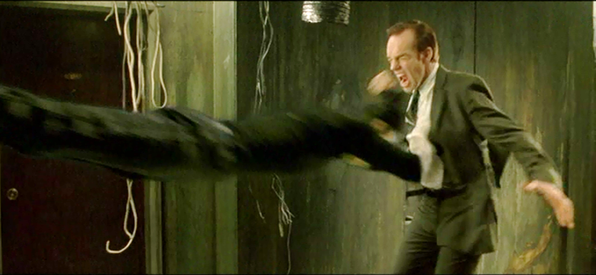 Neo dives into Agent Smith