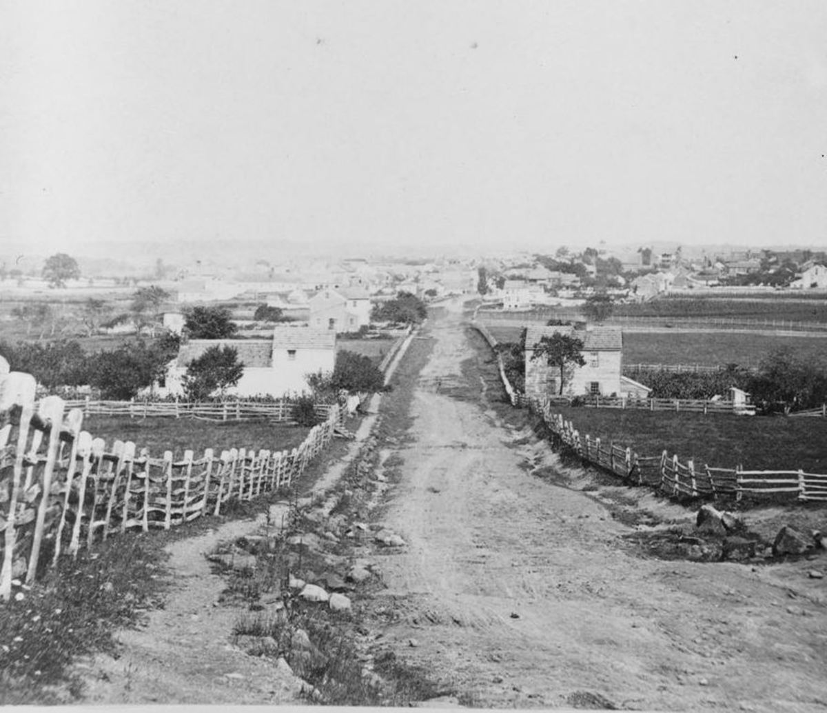 Gettysburg in 1863, north of town, viewed from the area of the Lutheran Theological Seminary