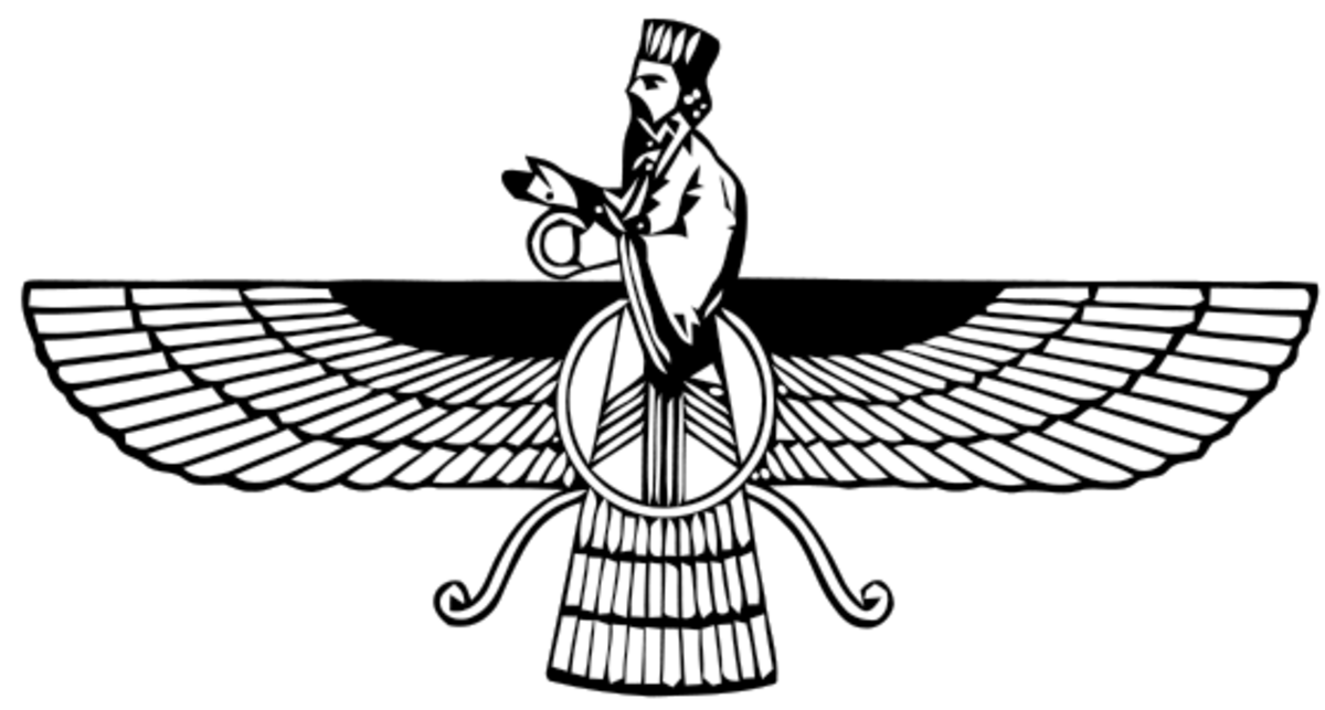 The Faravahar, symbolic of Zoroastrianism.