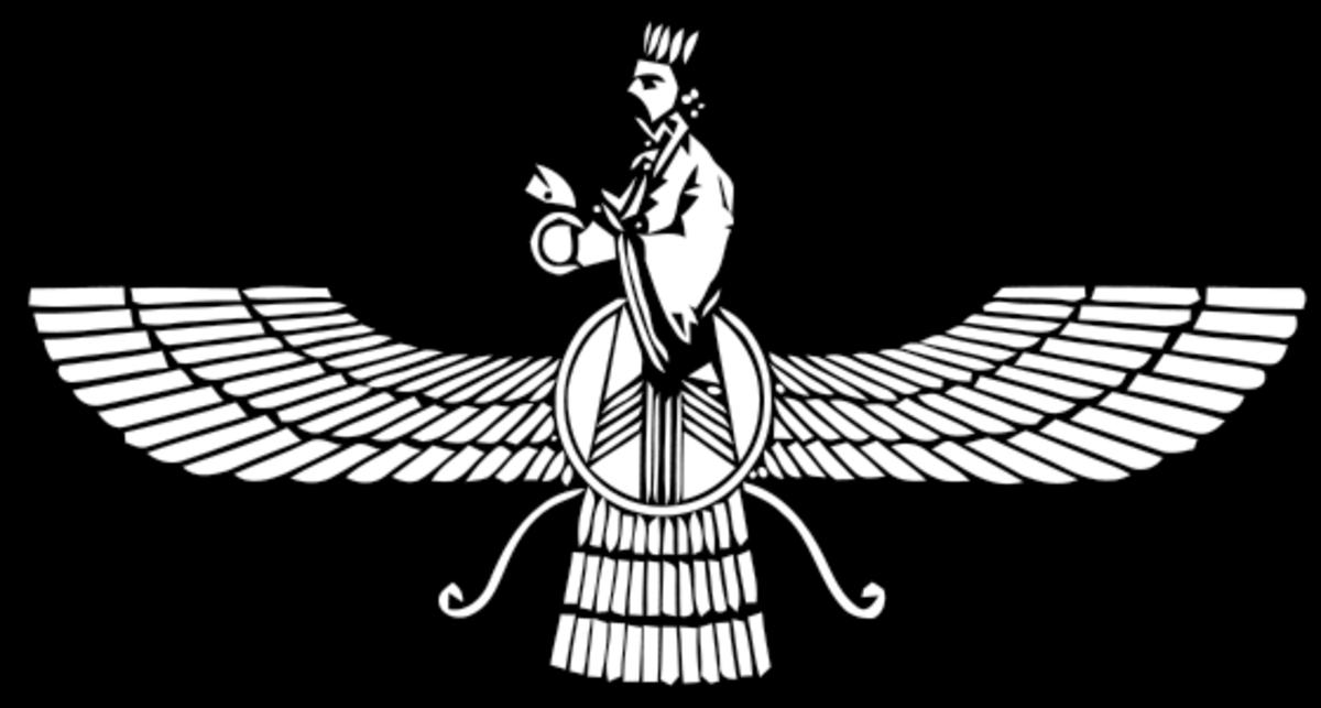 The Faravahar, symbolic of Zoroastrianism.