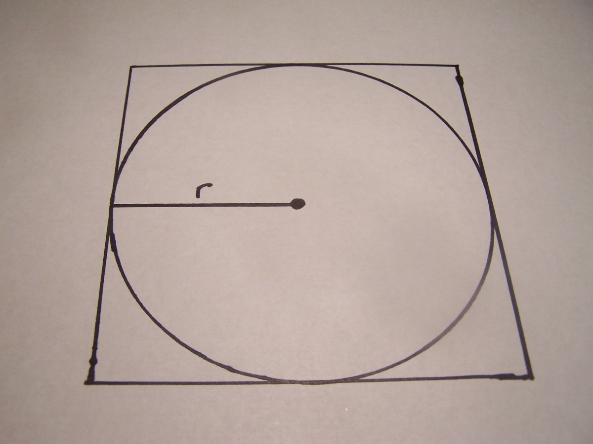 "Draw a line ""r"" to represent the radius of the circle."