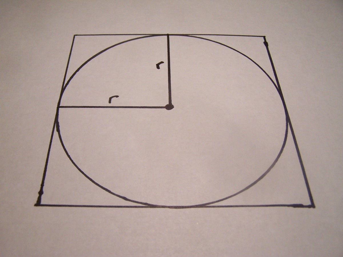 "Draw another radius ""r"" and notice that the two radii form a small square."
