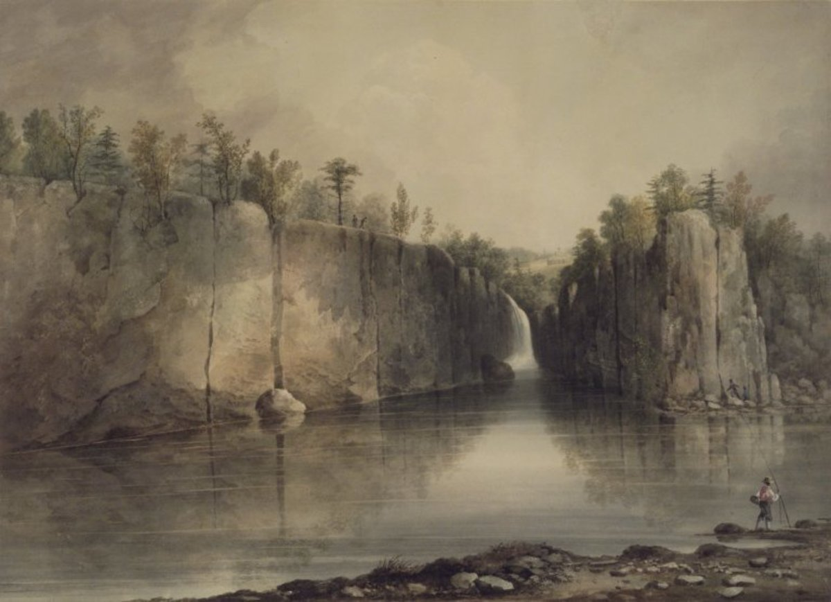 "Watercolor painting ""Falls of the Passaic"" by William Guy Wall (between 1815 and 1825)."