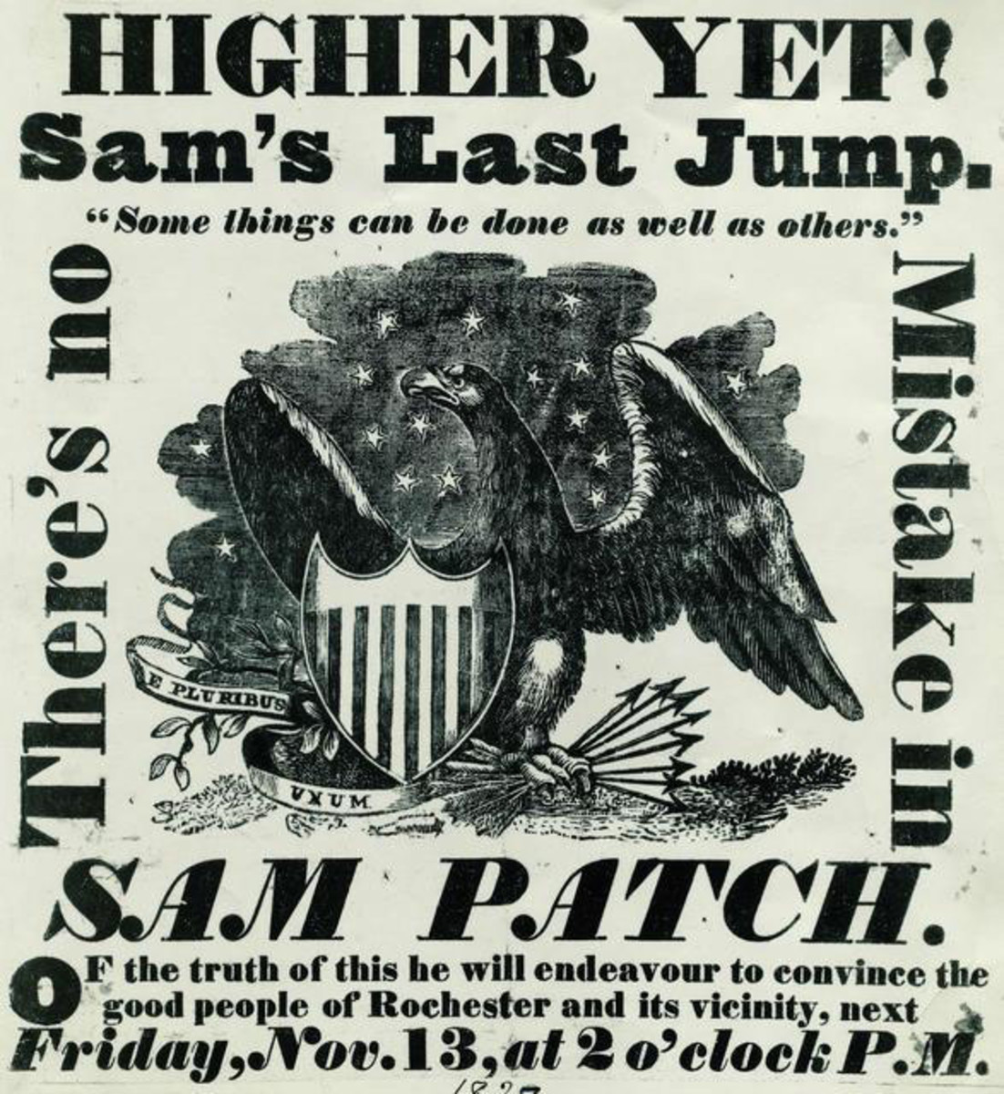 Handbill for Sam Patch's second jump at the Upper Falls of the Genesee River.