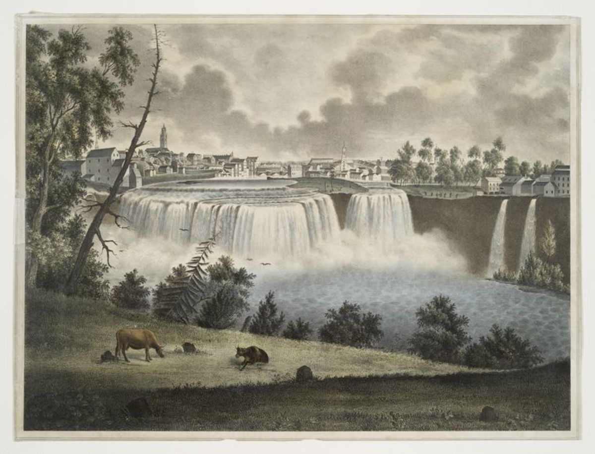The Upper Falls of the Genesee. Lithograph by John Henry Bufford from a painting by John T. Young (ca. 1814–1842).