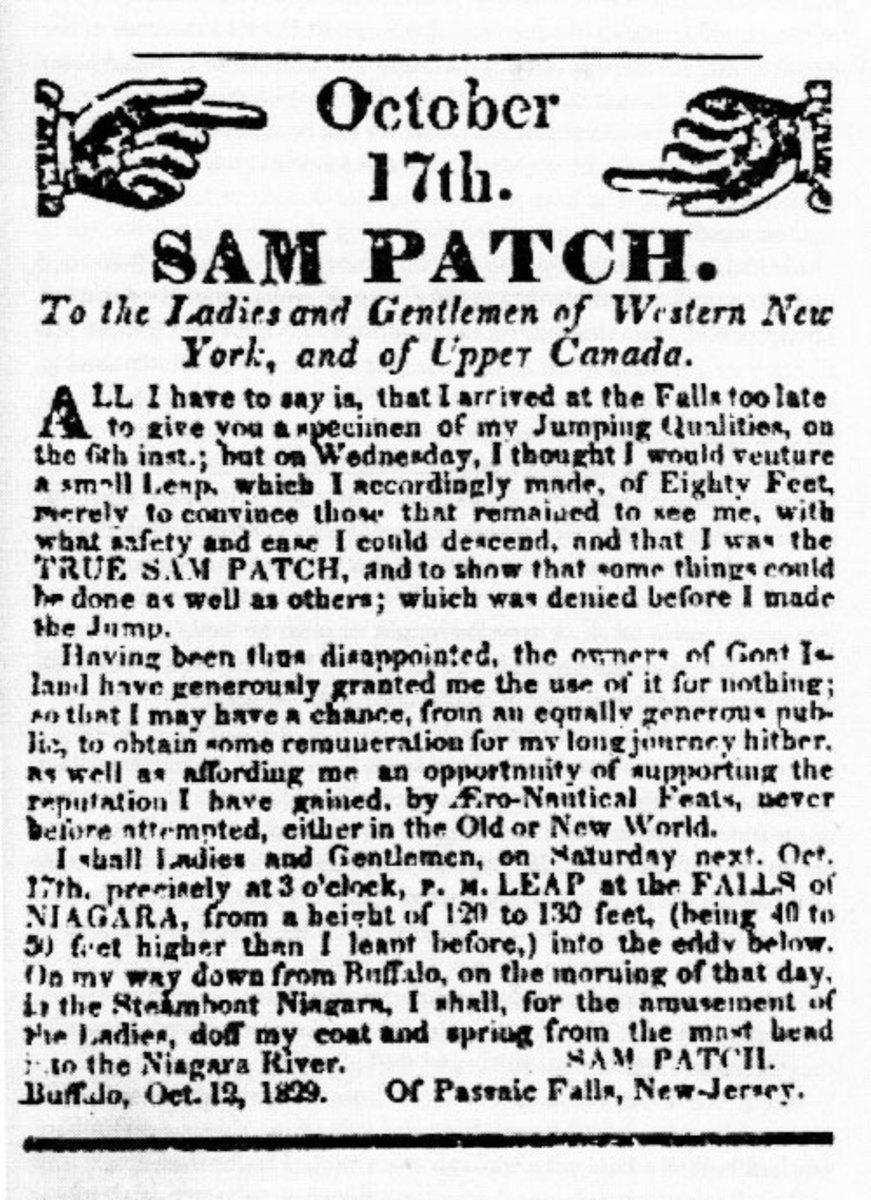 Advertising handbill for Sam Patch's second jump at Niagara Falls, October 17, 1829