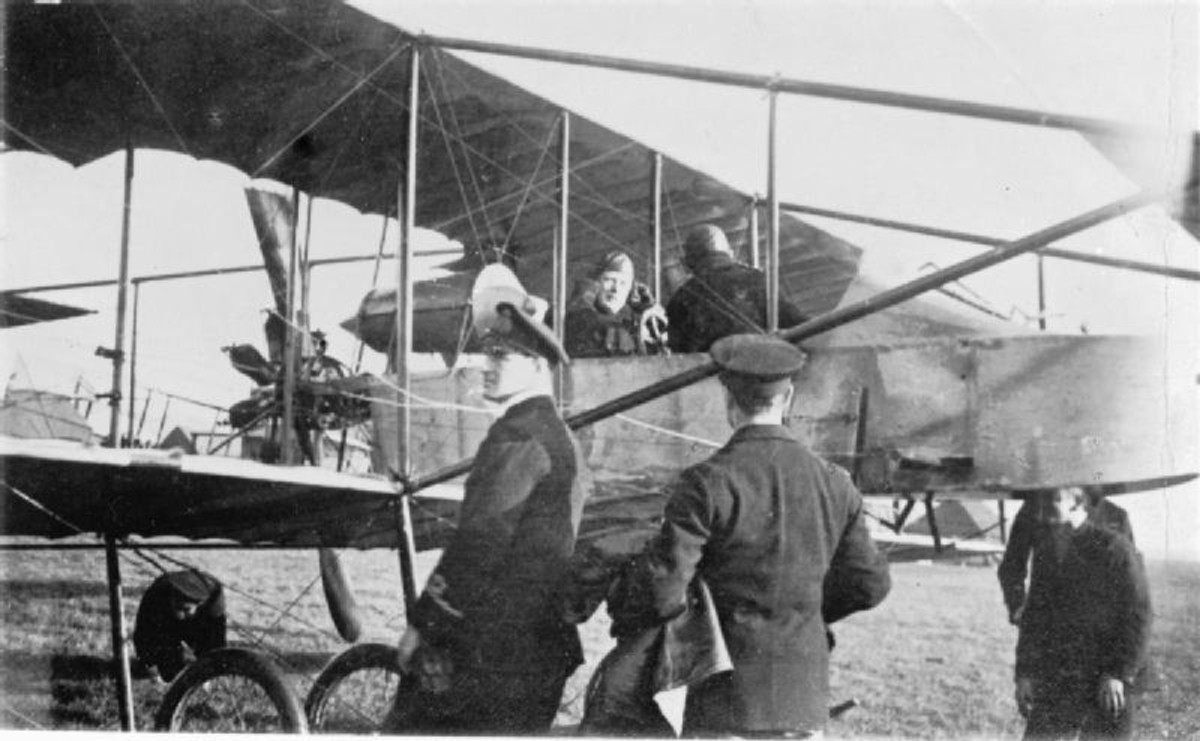WW1: Winston Churchill sits in a Short-Sommer Pusher Biplane, while learning to fly at Eastchurch, Kent. 1913. When at the front, Churchill would fly himself back to England during leave, much to the consternation of Clemmie, his wife.