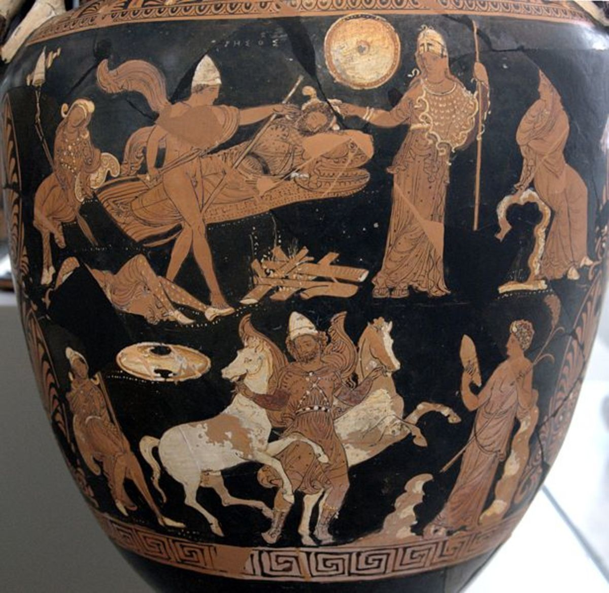 Athene offers support while Odysseus and Diomedes steal the horses of Rhesus.