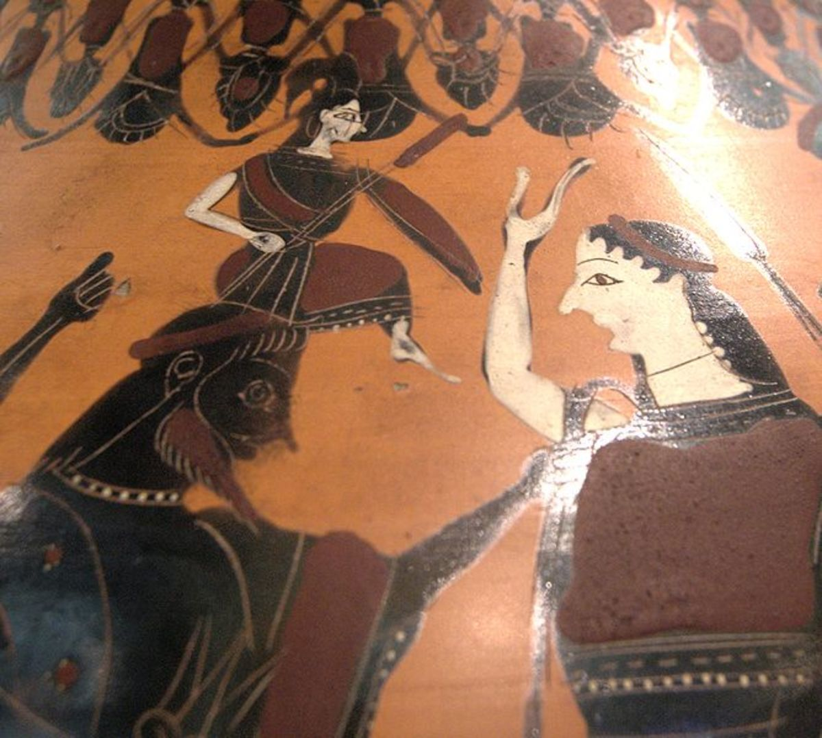 AtAthene emerging from the head of Zeus. Eileithyia, Goddess of childbirth stands on the right, ready to assist.