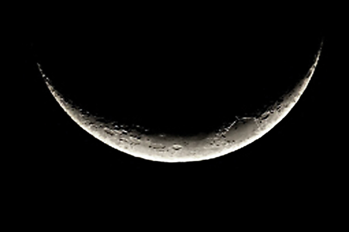 The smile of the Moon - the crescent Moon as seen at or near the equator, is orientated differently to the way we would see it at more northern or southern latitudes