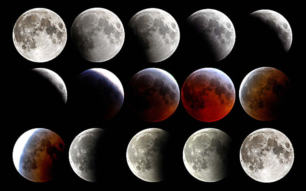 The sequenced development and passing of a Lunar eclipse, photographed in 2007