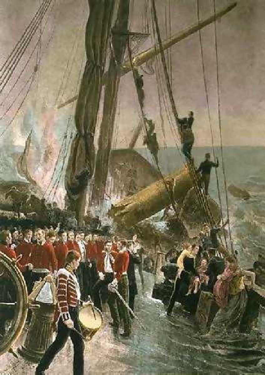 Soldiers line the decks on the HMS Birkenhead