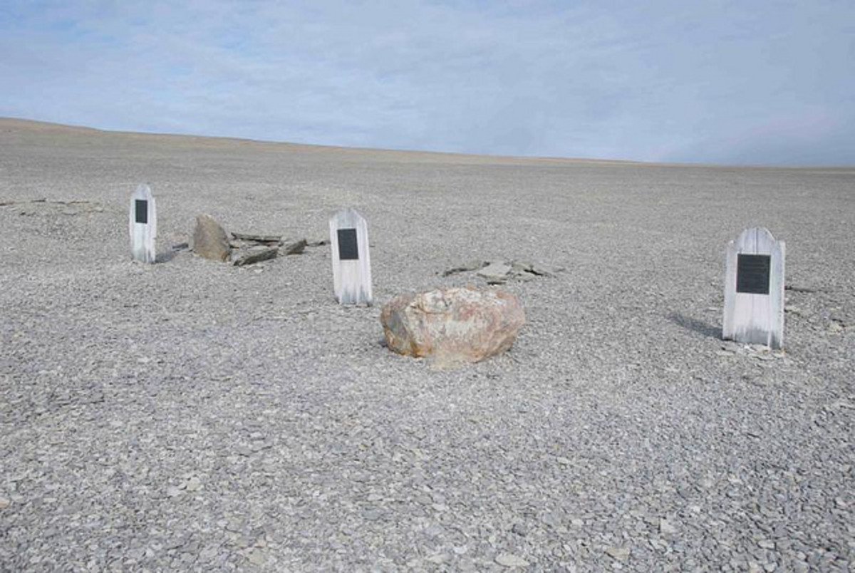 The graves on Beechley Island of William Braine, John Hartnell and John Torrington.