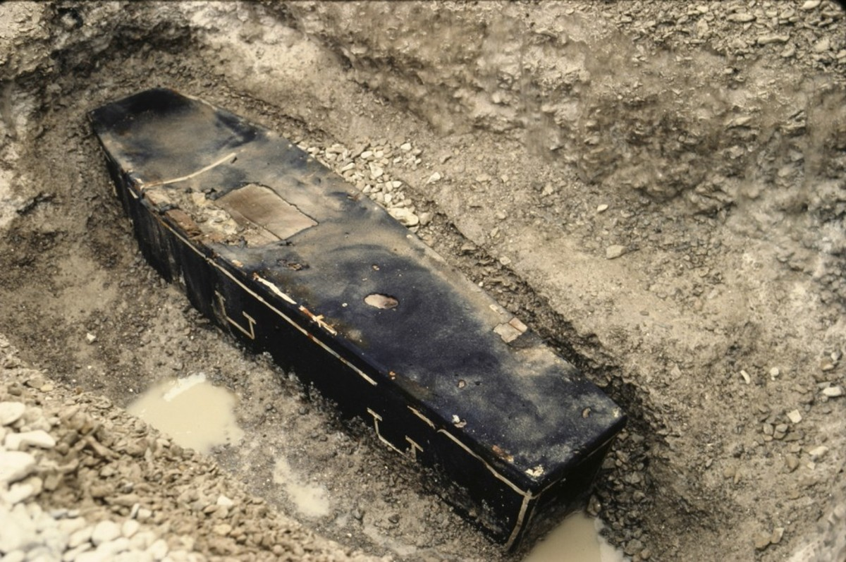 One of the Franklin Coffins exhumed in 1984.