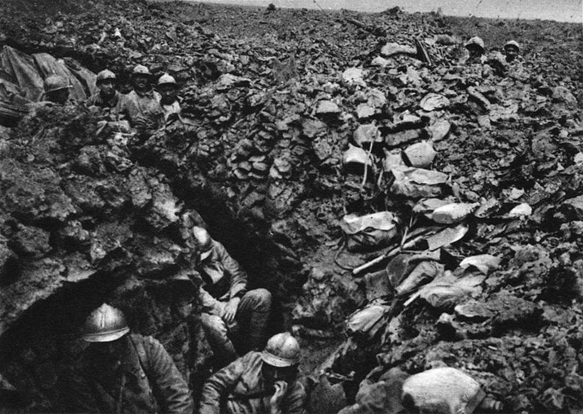 World War One: French soldiers in the trenches.