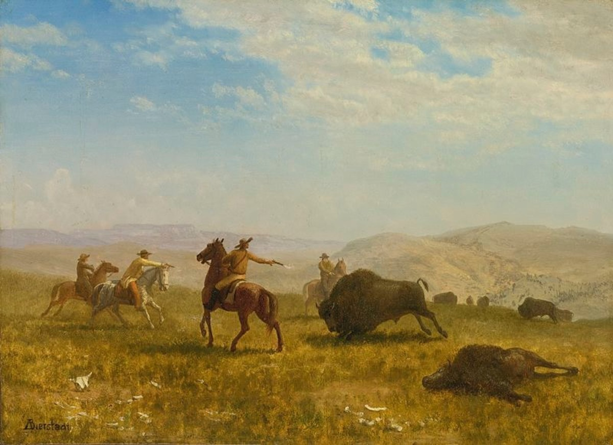 'The Wild West' An oil painting on canvas by Albert Beirstadt (1830 - 1902) now housed in the Newhouse Galleries, NY.