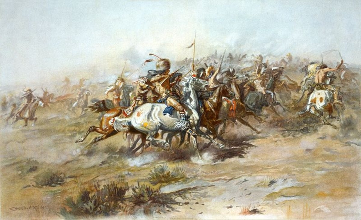 """The Custer Fight"" by Charles Marion Russell. Lithograph. Shows the Battle of Little Bighorn, from the Indian side."