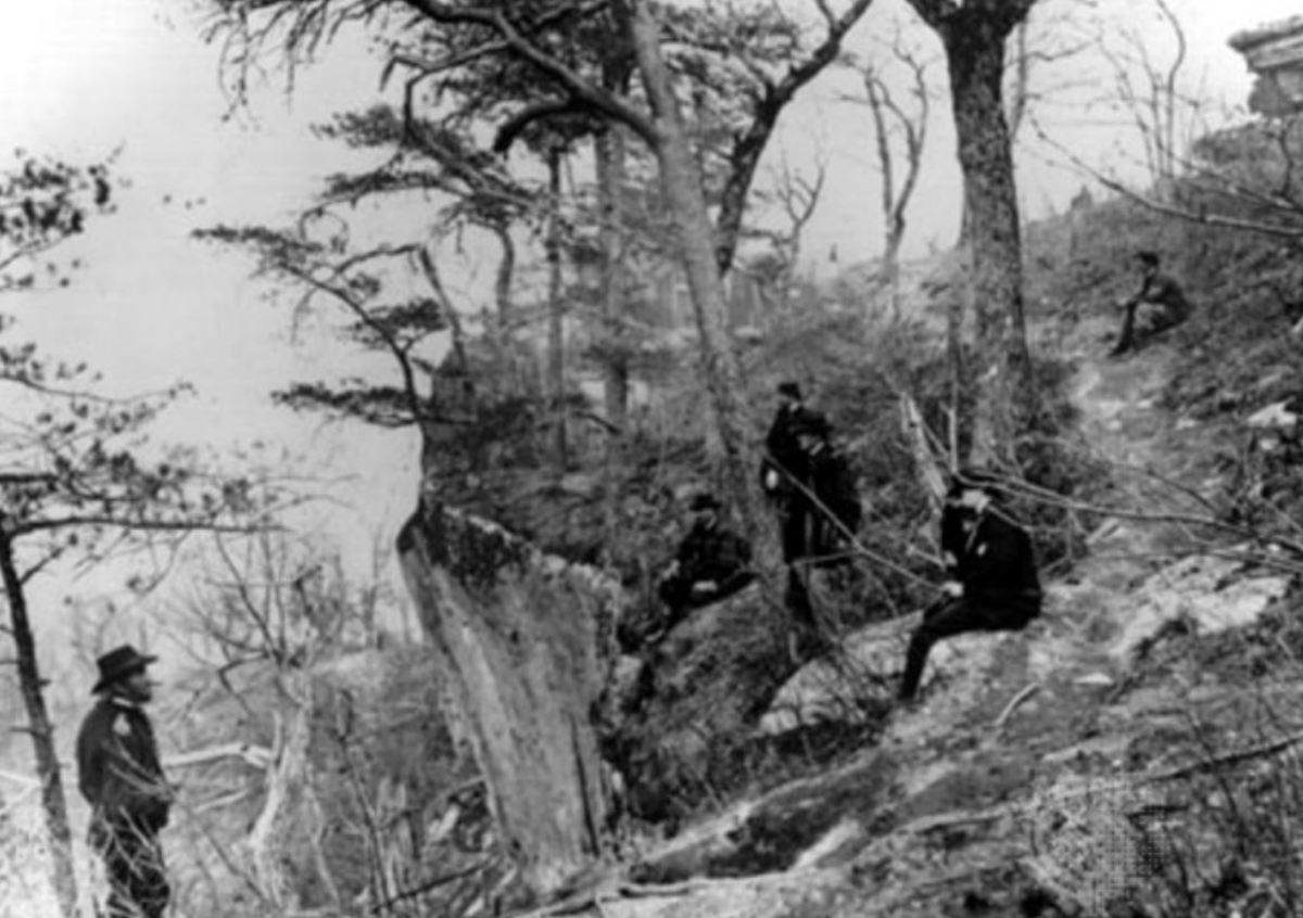 General Ulysses S. Grant (left) on Lookout Mountain at Chattanooga