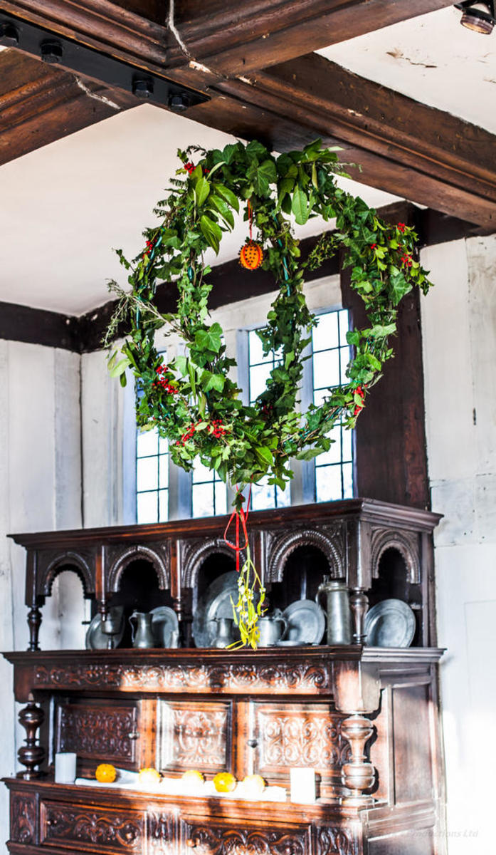 A Kissing Bough in Blakesley Hall, Birmingham, England.