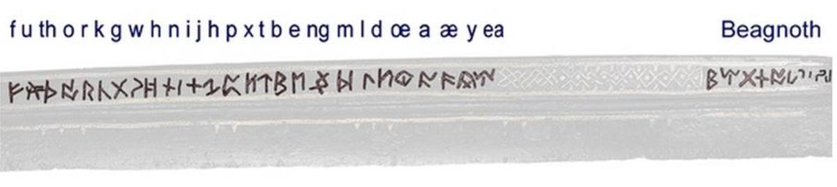 Anglo-Saxon Futhorc and Beagnoth's name marked on the blade.