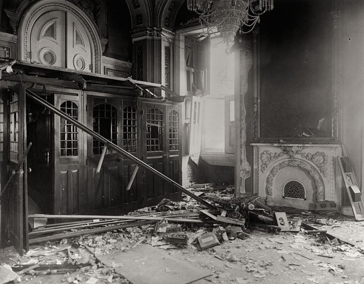 The Senate Reception room in the US Capitol after Muenter's bomb exploded (July 2, 1915)