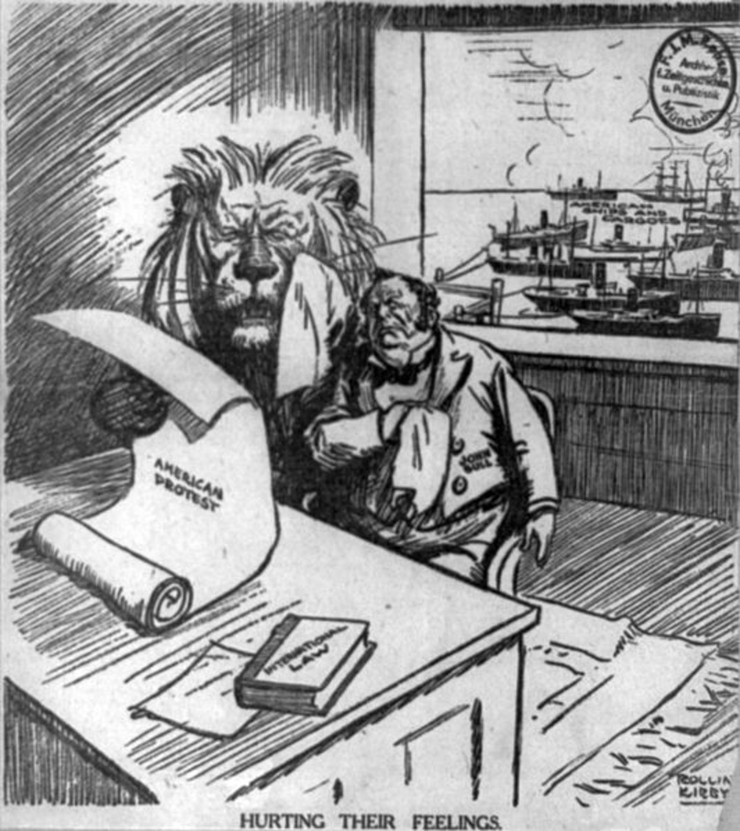 Political cartoon showing how American war protesters hurt British feelings, while American ships, loaded with cargo, fill the harbor behind them (1915).