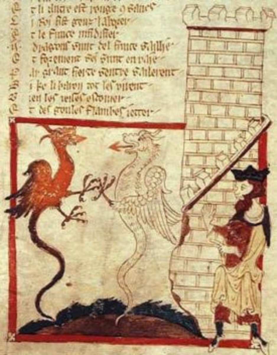 An image from a manuscript of Wace's Brut.