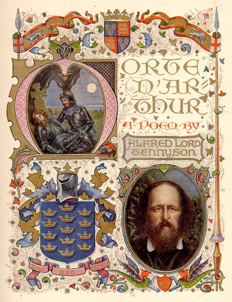 Title Page to Morte d'Arthur by Tennyson, art by Alberto Sangorski  1912