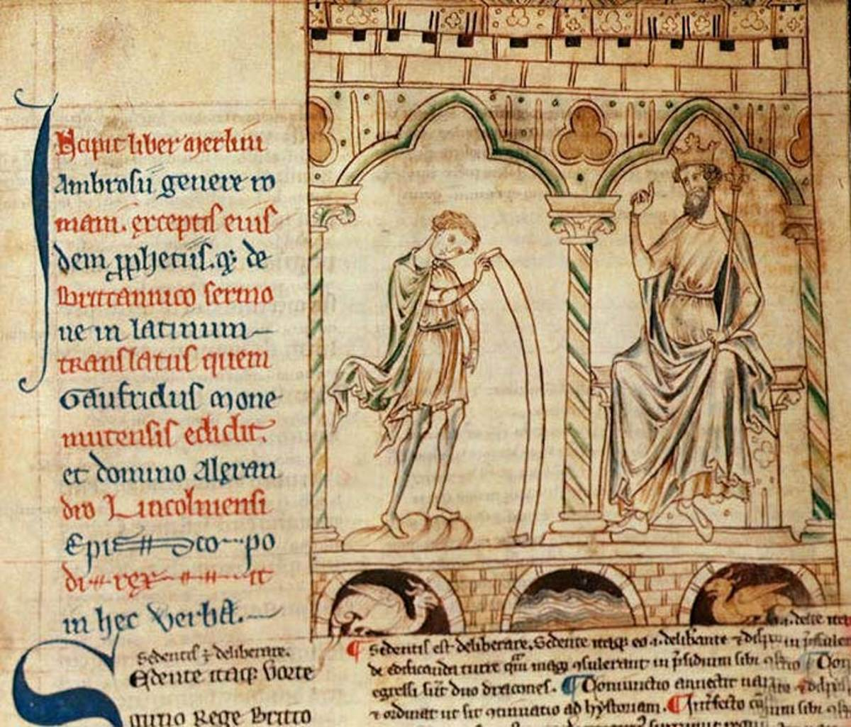 Merlin prophesies for Vortigern, from a manuscript of Geoffrey of Monmouth's Historia Regum Britanniae