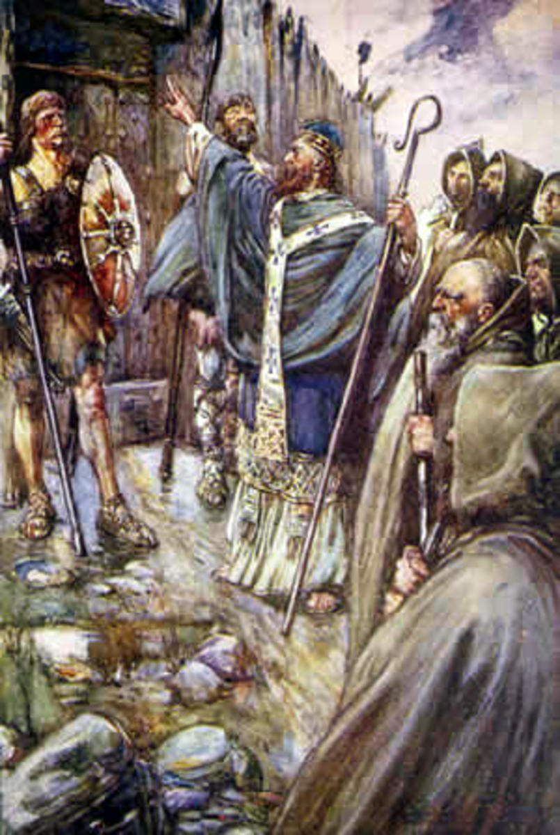 Saint Columba, an example of the kind of saint who would be featured in Medieval hagiographies. Art by John R Skelton, 1906
