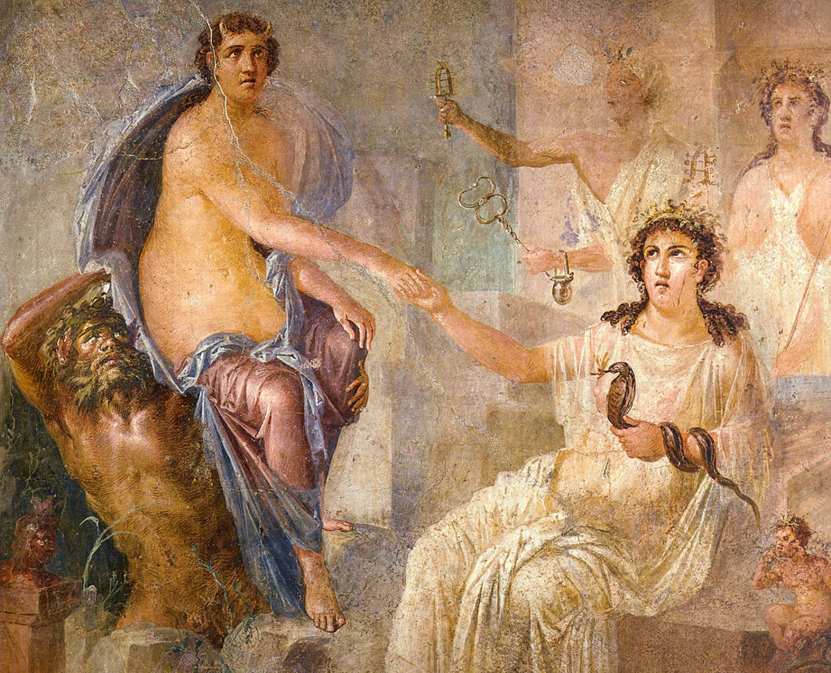 Fresco from the Temple of Isis at Pompeii, showing Isis welcoming Io.