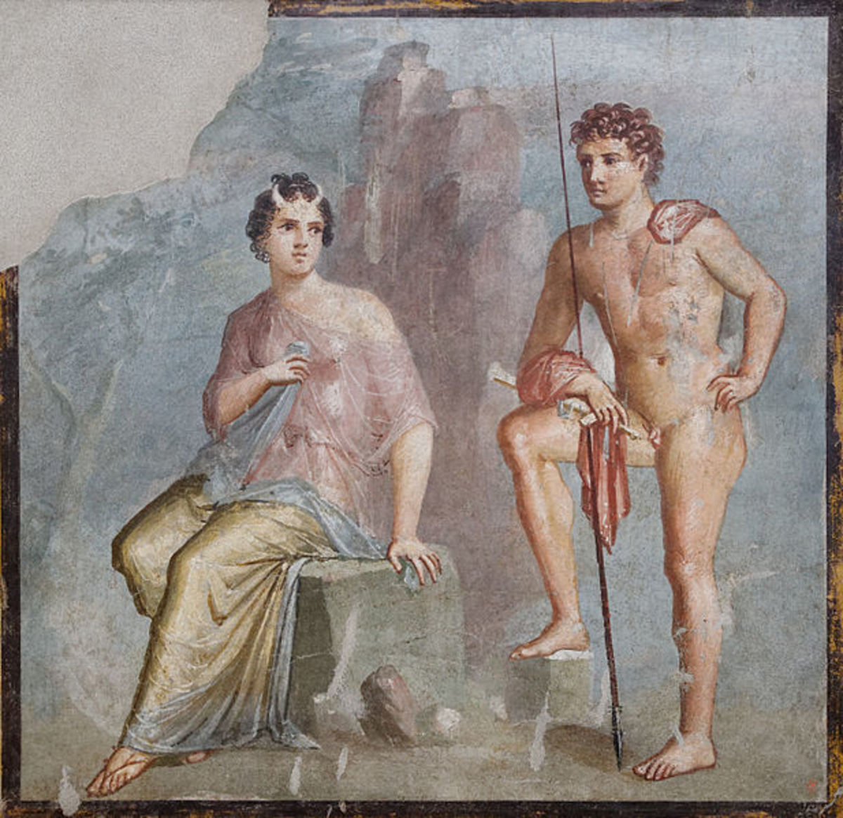Pompeian fresco of Io Guarded by Argus. Instead of showing Io as a heifer, the artist has instead just given her cute little horns.