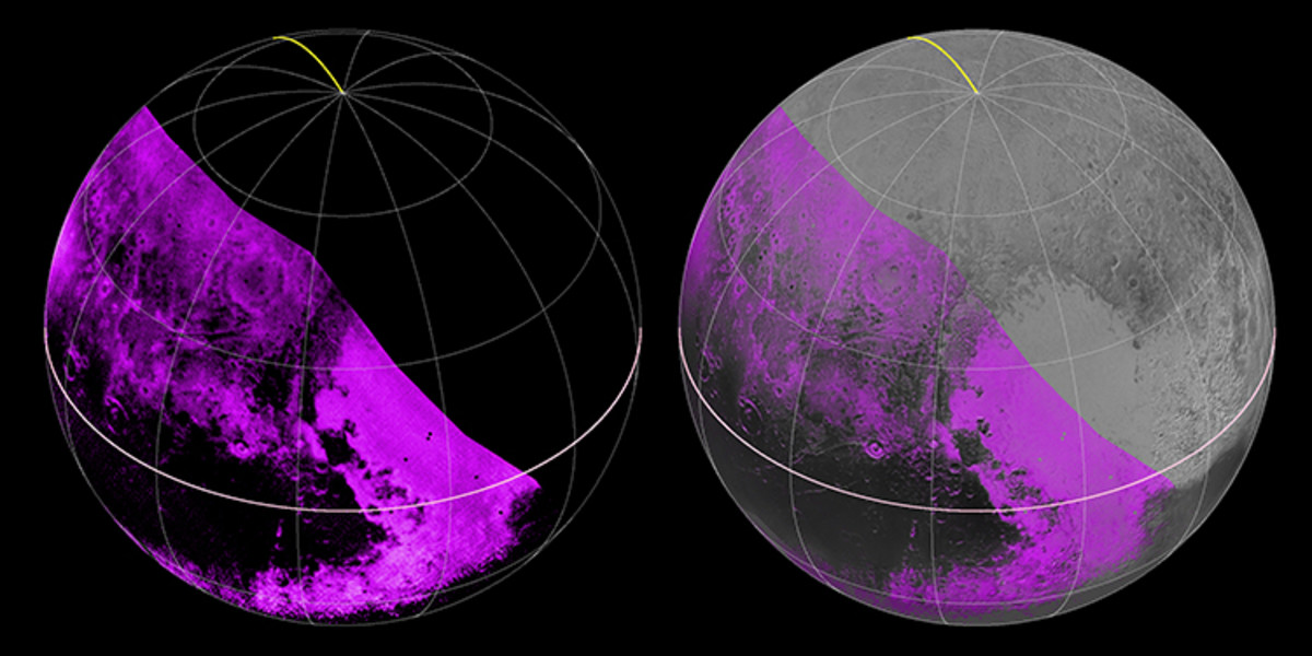 Methane ice map generated by the Ralph/LEISA instruments, with purple indicating strong readings.