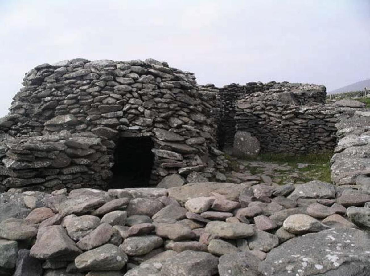 Beehive-styled huts near Clochan, Ireland.
