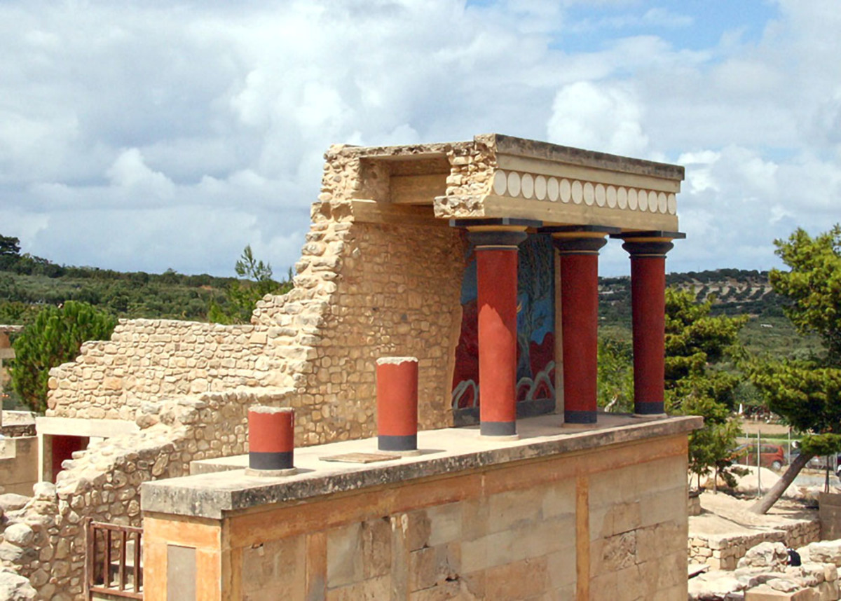 The Palace of Knossos in Crete. Many believe the ruins once housed the Labyrinth of the Minotaur, one of the most famous locations in Greek myths.