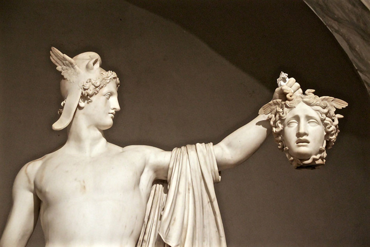 Perseus and Medusa immortalized in marble by Italian sculptor Antonio Canova. The story is one of the most famous Greek myths and a must-know for any Greek vacation.