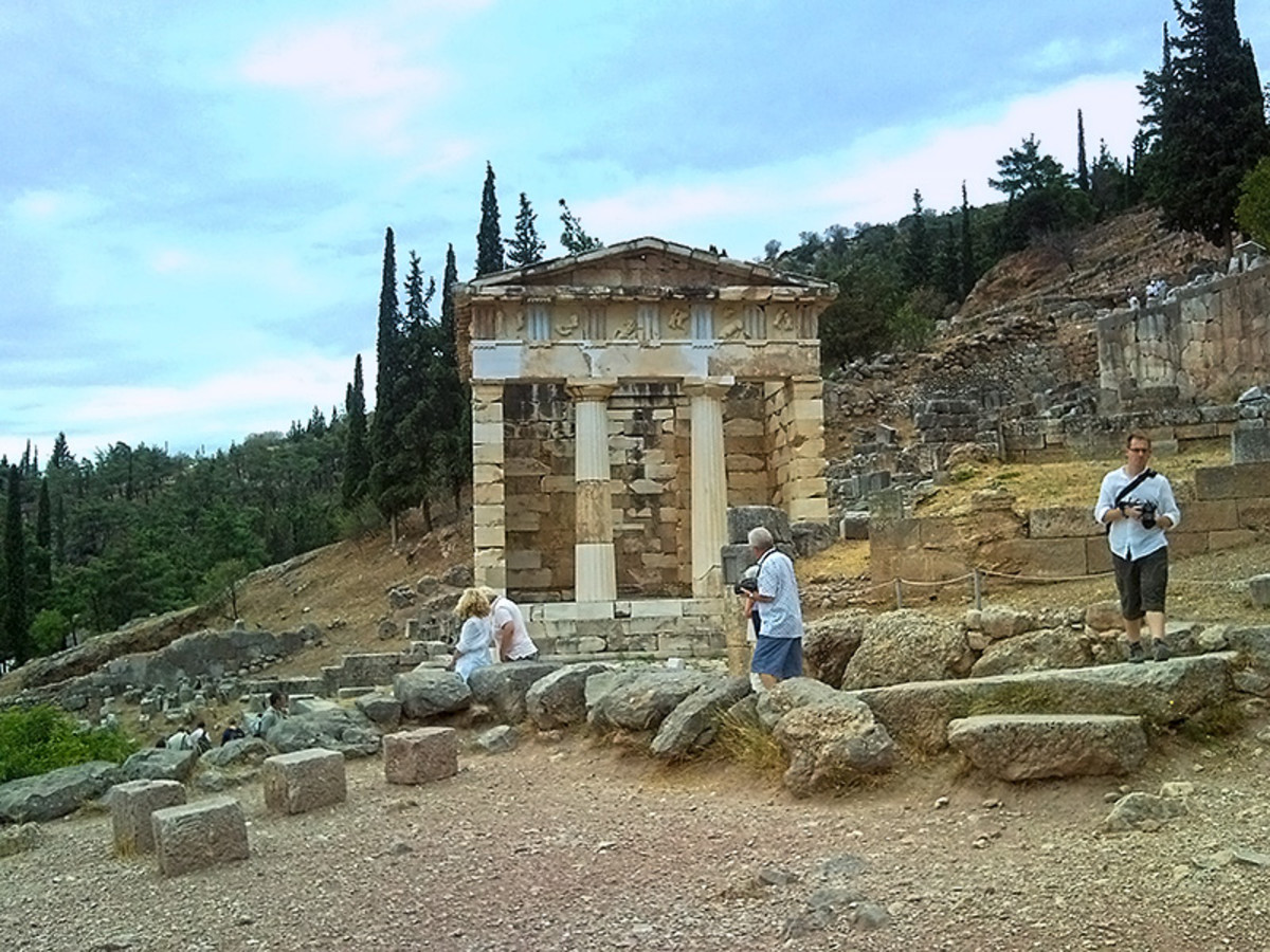 Ruins of a treasury house at Delphi.