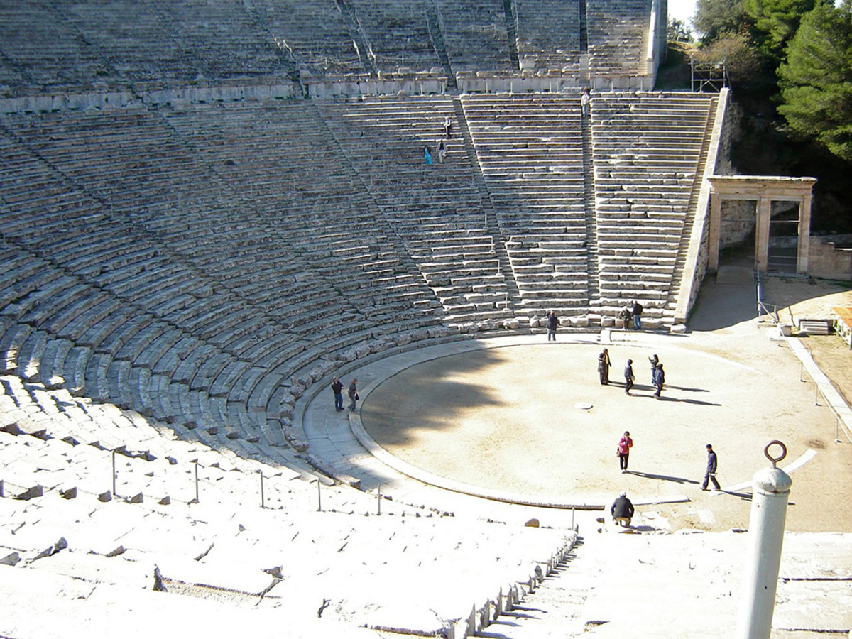 The Amphitheatre of Epidaurus. Famous for its perfect acoustics.
