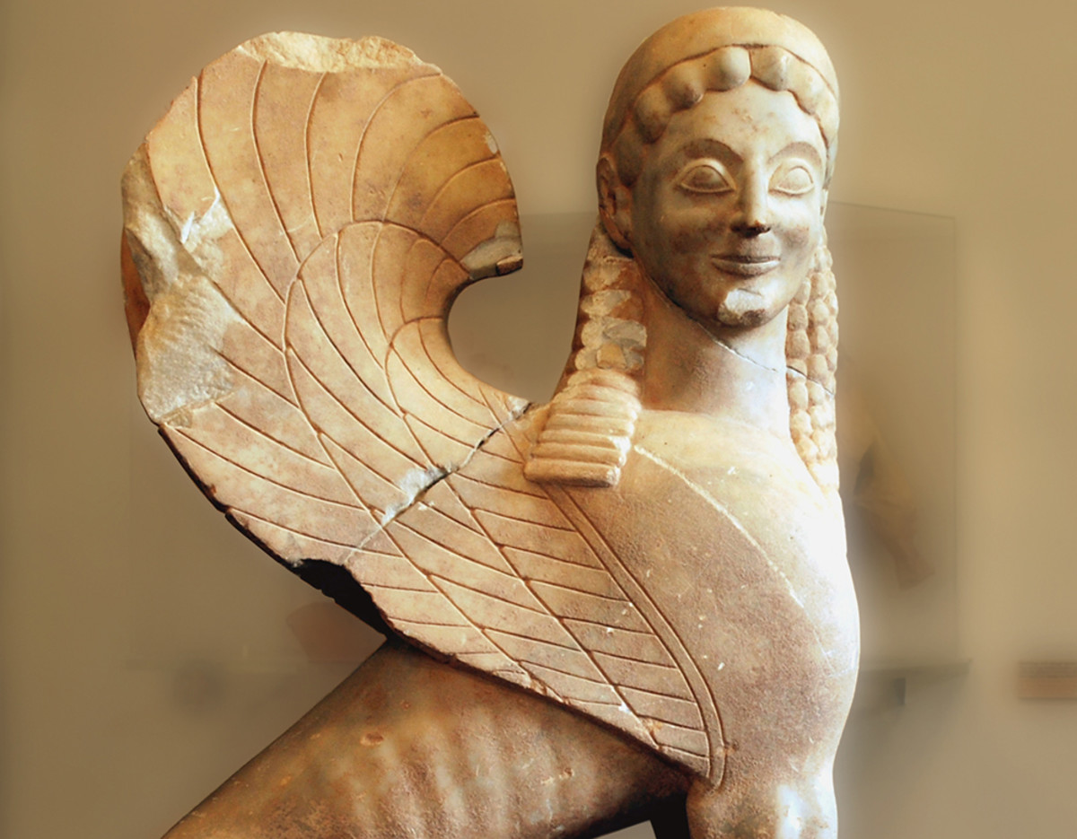 Sculpture of the Sphinx in Corinth Archaeological Museum.