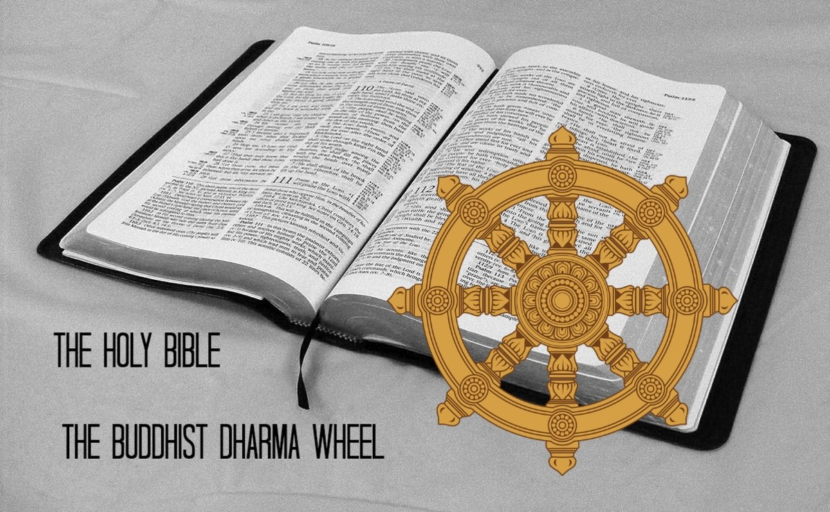 The teachings of Jesus are in the Bible. The dharma wheel symbolizes the eightfold path of Buddha.