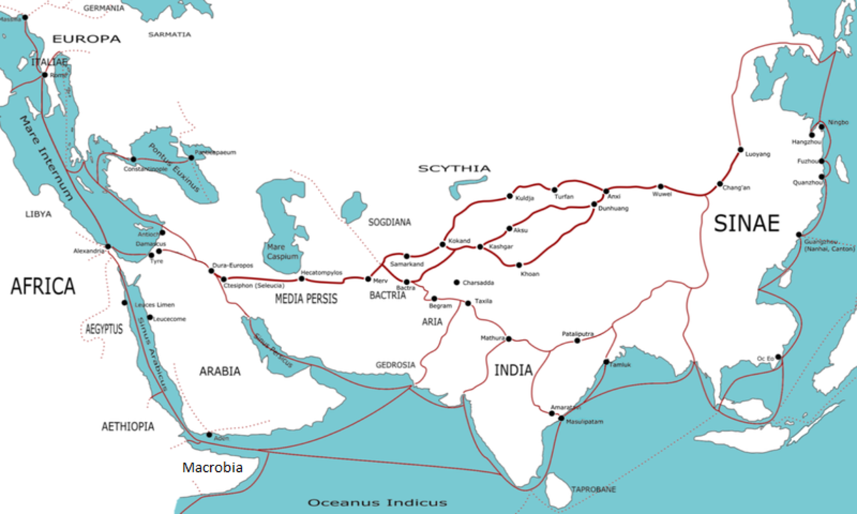 This map shows the trade routes during the first century. The Mare Internum (top left) is the Mediterranean Sea, The map shows how ideas in India cold have made their way to Rome where the Bible was written.
