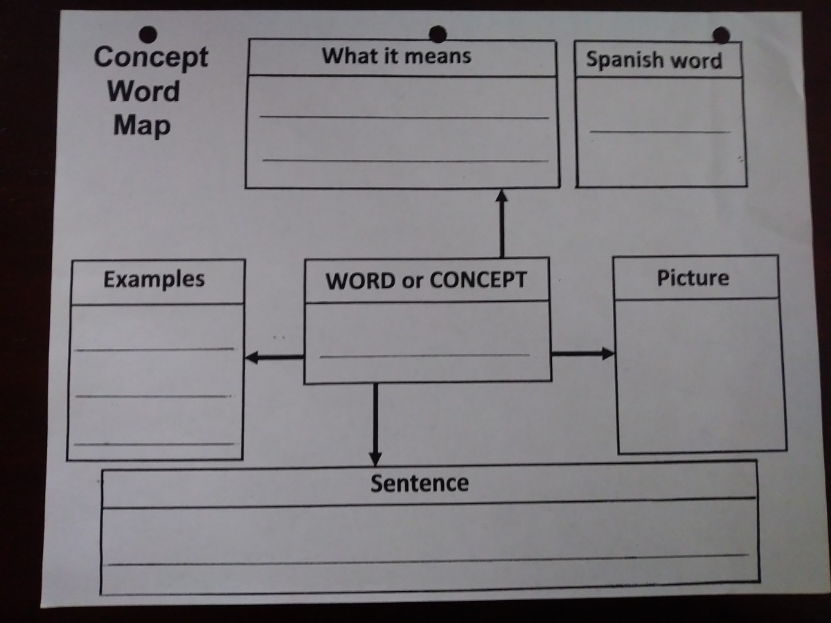 Use graphic organizers such as concept maps when teaching your English learners words or concepts.