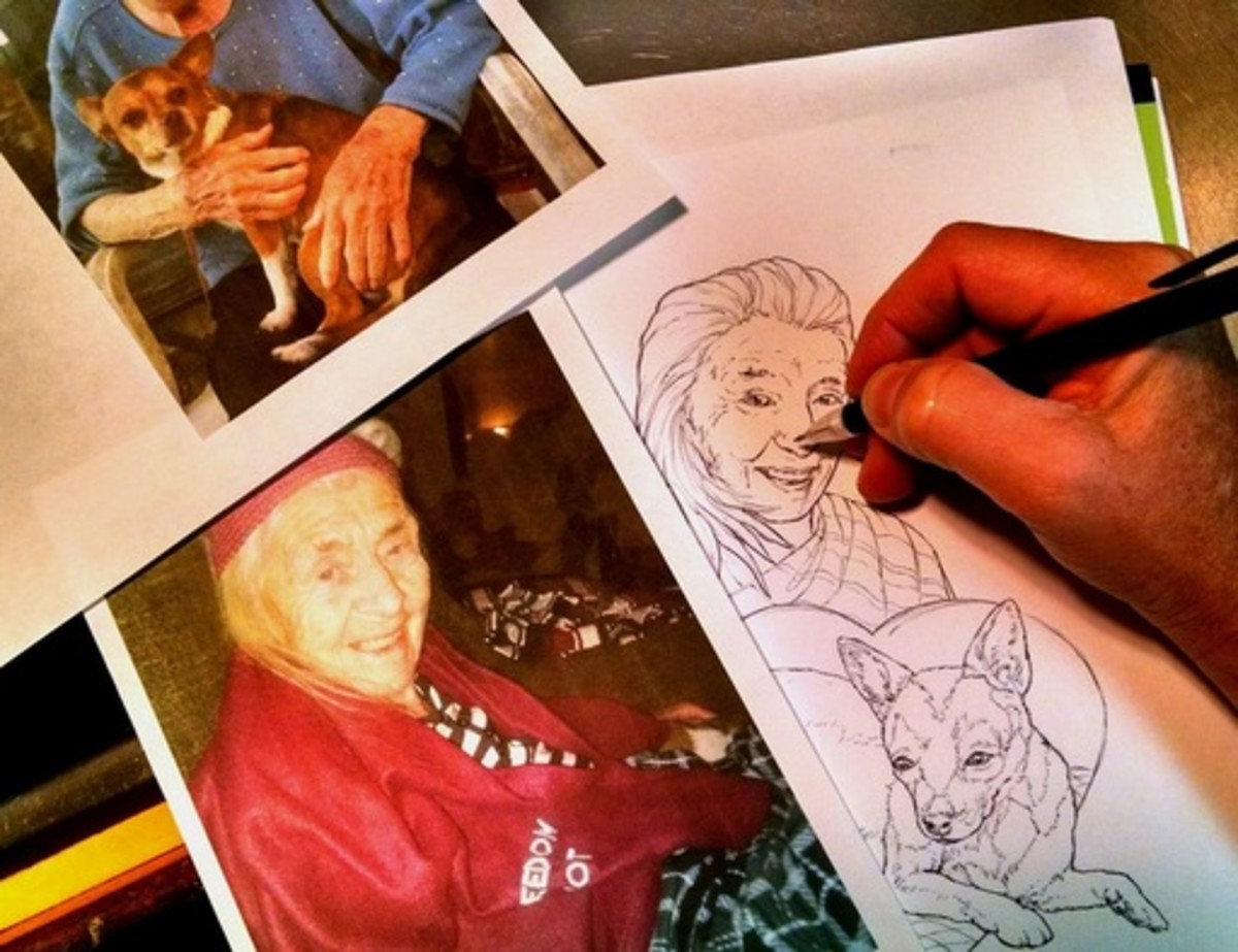 A coloring book illustrator freehand drawing actual people and pets to publish as coloring images