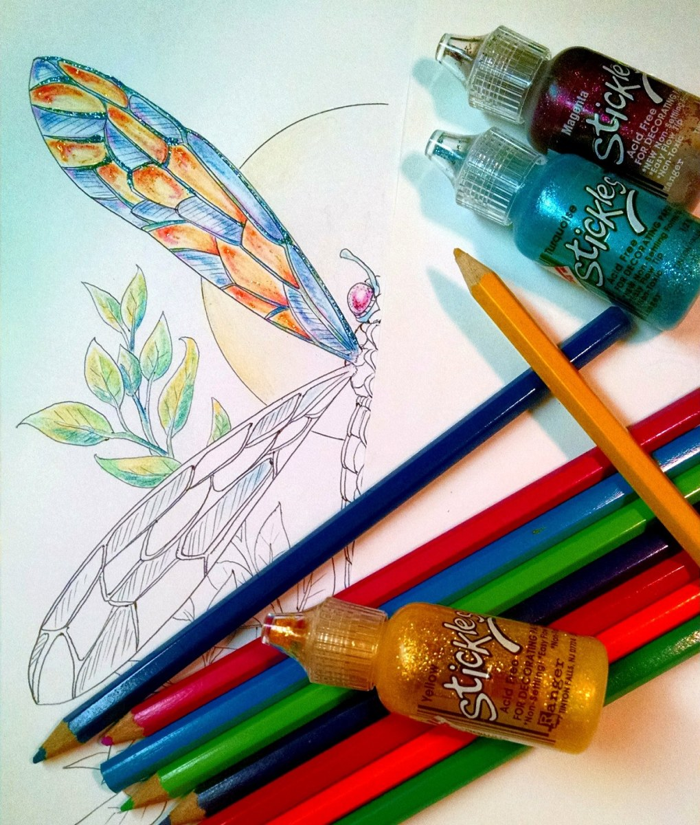 Coloring isn't limited to crayons. Touches like glitter, gel pens, and metallic pens add interesting effects.