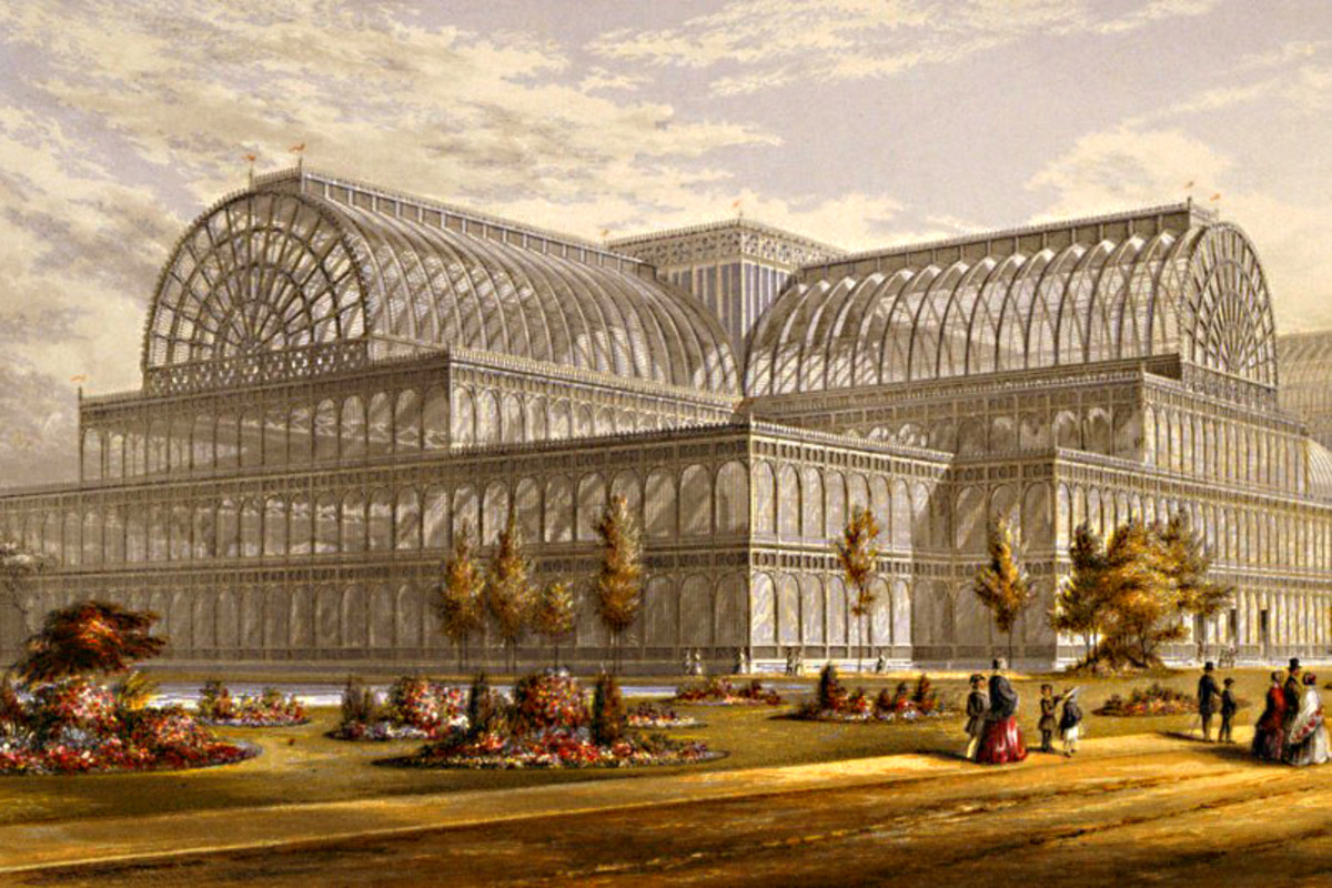 The Crystal Palace in Hyde Park - home to the Great Exhibition of 1851. From a contemporary image
