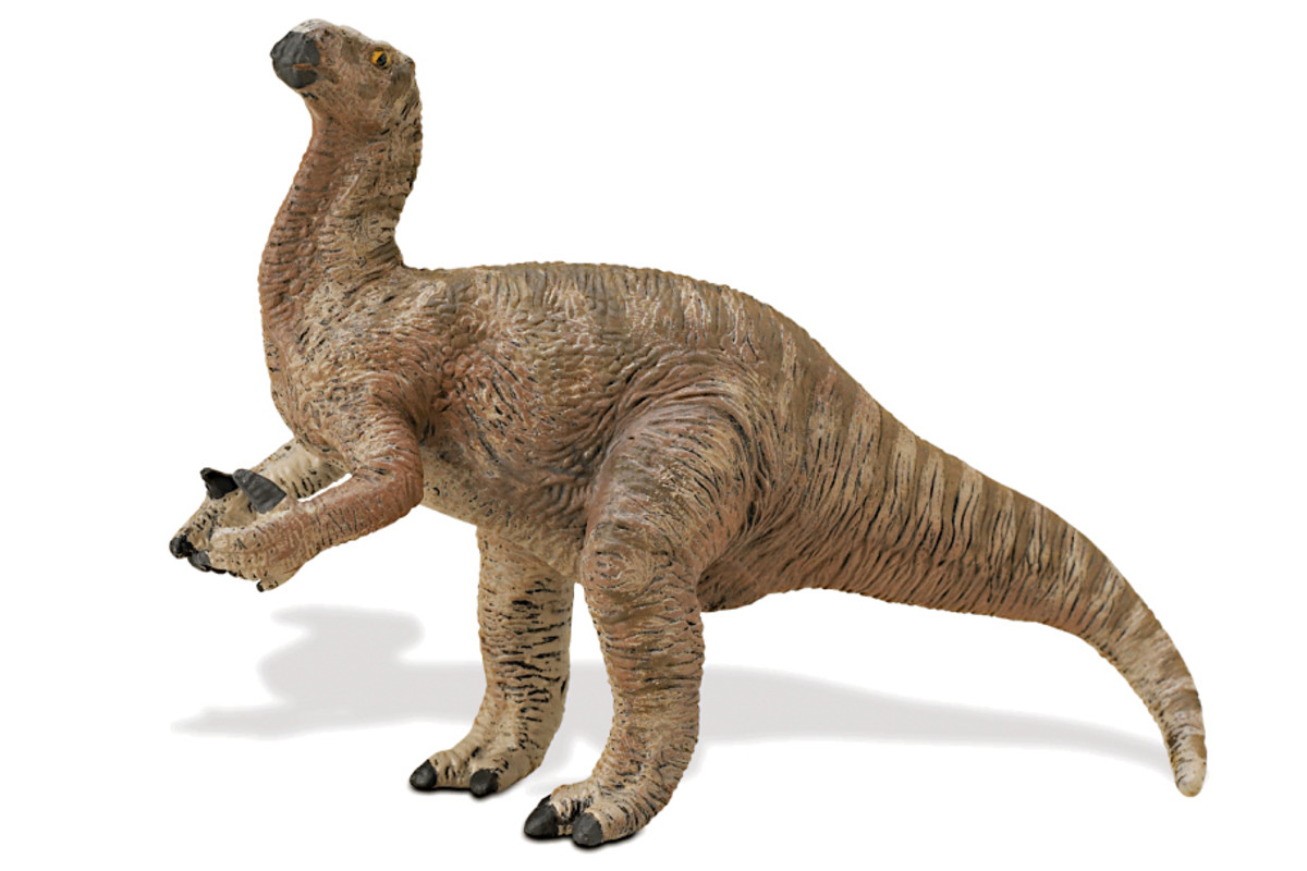 It's still not known if Iguanadon predominantly was quadrepedal or bipedal. But note in this modern representation the spiked thumbs - no longer on the nose!