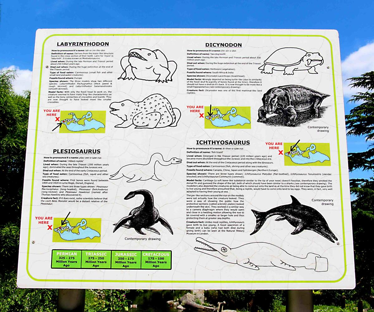 One of the information boards describing the statues, and the animals portrayed