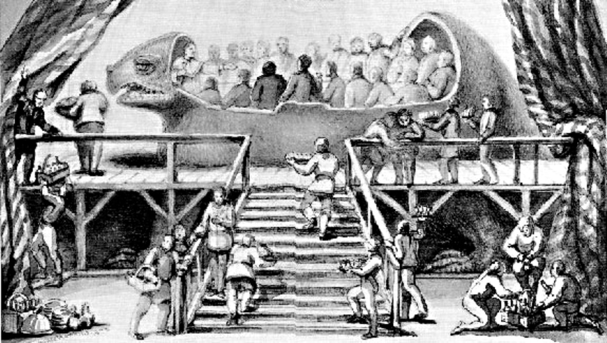 On New Year's Eve 1853, Waterhouse Hawkins organised a banquet for Richard Owen and other scientific dignitories, Crystal Palace administrators and newspaper editors inside the belly of an uncompleted Iguanadon statue. From a drawing by Hawkins