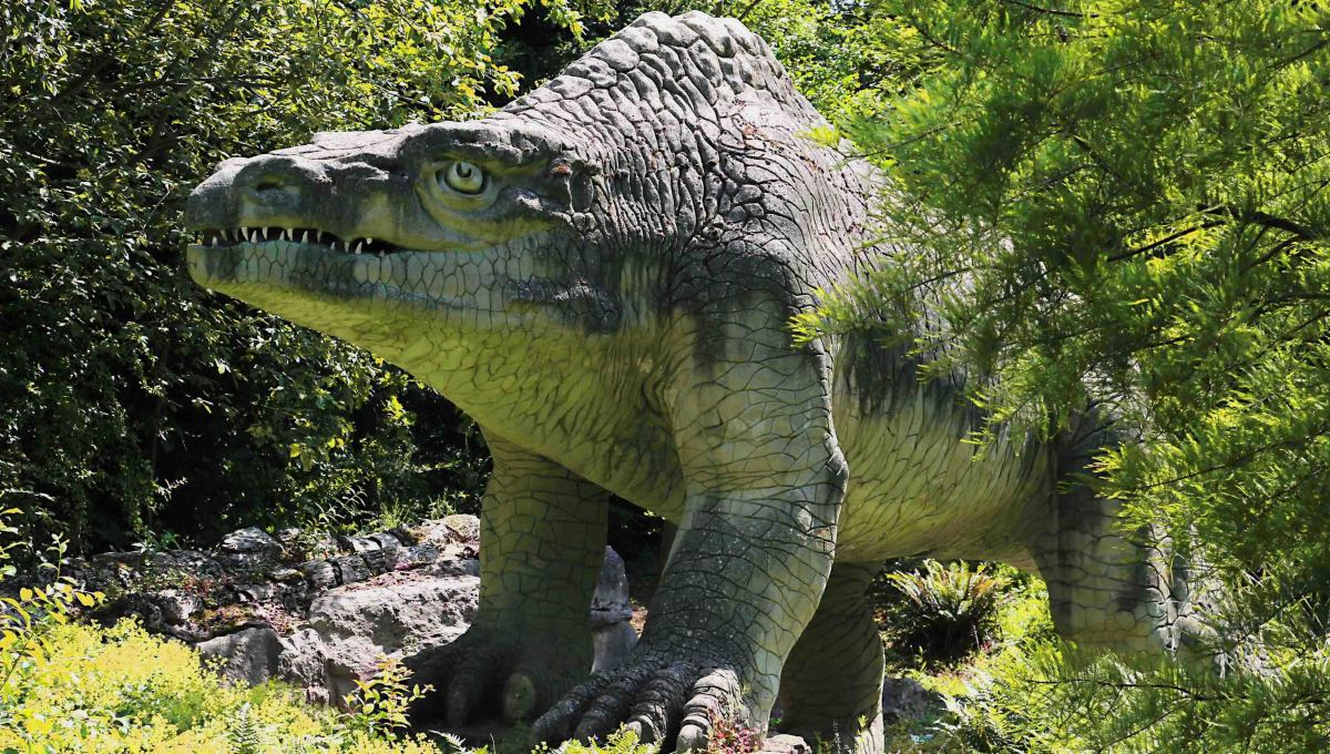 The Megalosaurus - the first ever dinosaur to emerge from the rocks of history, before emerging once more from the undergrowth in Crystal Palace Park